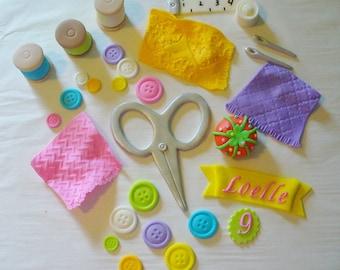 3D SEWING Theme Edible Fondant Cake Decorations