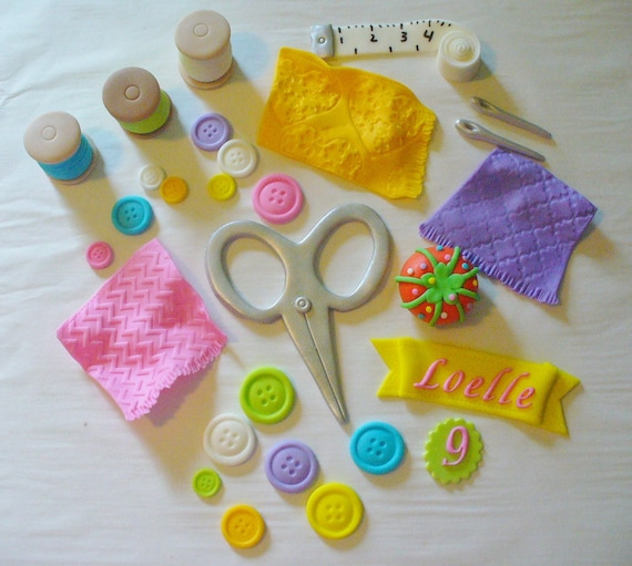 Edible Sewing Themed Cake Decorations