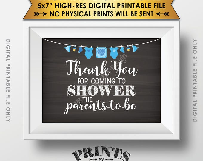 """Thank You Sign, Showering the Parents-to-Be Baby Shower Decor, Shower the Parents Sign, 5x7"""" Chalkboard Style Printable Instant Download"""