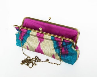Clutch bag, ikat fabric, teal pink an grey silk ikat design, evening purse