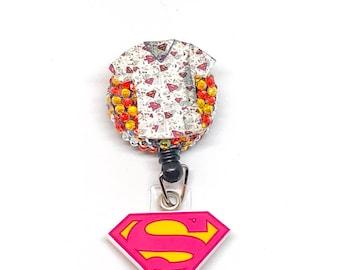 Sale - Super Hero - Nurses Week - Super Woman Hero - Nurses - Badge Holder - Badge Reel - Badges - Retractable