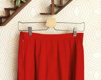 1980s Red Pleated A-Line Skirt, High Waisted A-Line Skirt, Vintage Skirt, Vintage Red Skirt, Vintage Pleated Skirt, Made in the USA