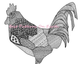 Rooster Coloring Page - Zen Rooster - Zendoodle Feathers - Adult Coloring Pages - Kids Coloring Book PDF