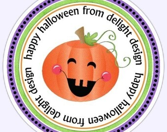 Custom Halloween Labels, Pumpkin Stickers, Halloween Treat Stickers, Halloween Favors, Pumpkin Labels - 2.5 inch round - Custom for YOU
