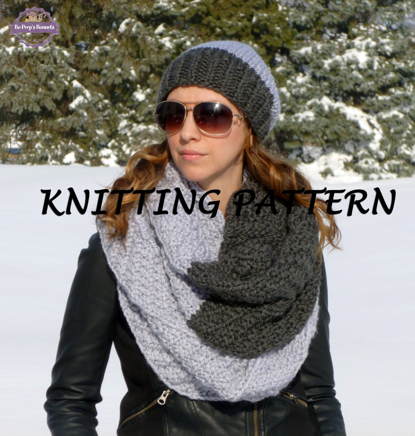 KNITTING PATTERN Two-Tone Hat and Infinity Scarf - Knit Cowl Pattern ...