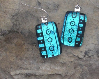 Icy Blue Earrings Etched Fused Dichroic Glass Blue Earrings