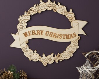 Merry Christmas Wooden Wreath - Xmas Wreath - Christmas Decoration
