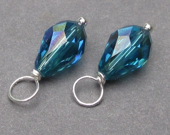 Swarovski Crystal Charms,  Indicolite Blue AB Crystal Teardrop Wire Wrapped Bead Dangles, Interchangeable Earrings, Stitch Markers