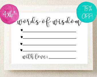 Advice Cards Little Words of Wisdom Wedding Advice Cards
