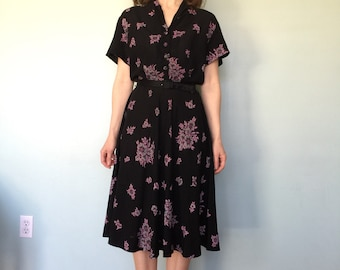 1940s black floral rayon dress size small