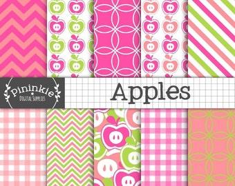 Apple Digital Paper Pack, Summer Digital Scrapbook Paper, Digital Background Paper, Pink Digital Paper, Fruit Scrapbook Paper Digital