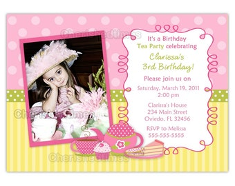 Tea Party 2 Birthday Photo Card Invitation (You Print)