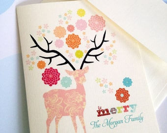 Personalized Christmas Card, Custom Holiday Card, Reindeer Cards, Set of 10