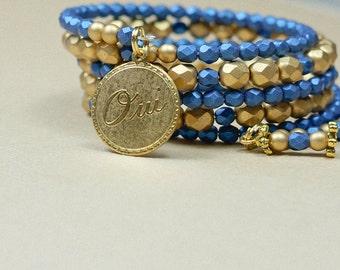 Blue Gold Bracelet, Blue Spiral Cuff, Blue layering bracelet, Spiral Bracelet, Blue Gypsy Bracelet Spiral Wrap blue, French Word, OOAK,