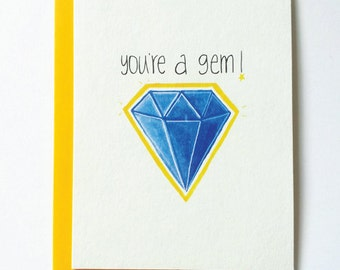 thank you card- you're a gem card - friendship thanks greeting card- appreciation card - thank you card - birthday card