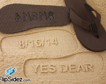 Custom Bride or Groom Flip Flops - Sand Imprint Sandals (Wedding Date/Yes Dear) *check size chart, see 3rd product photo*