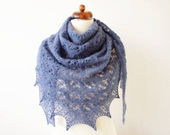 blue silk alpaca scarf, handknit lace shawl, warm and cozy luxury gift,