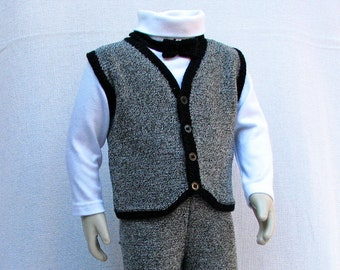 Hand Knit Tweed Set for Toddler Boy - Formal Outfit - 2T - Ready to Ship
