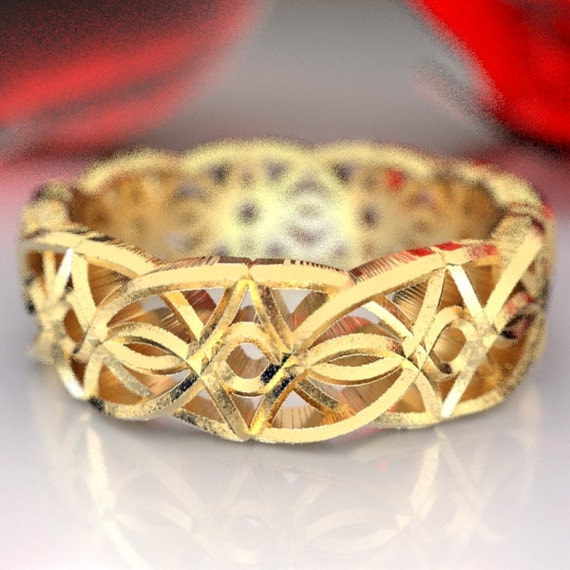 Gold Celtic Knot With Braided Cut-through Knotwork Design in 10K 14K 18K or Palladium, Made in Your Size Cr-113