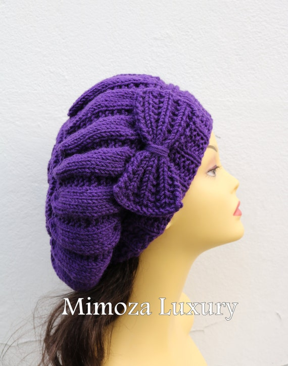 Womens hats, Purple Woman Hand Knitted Hat with Bow, Beret hat with bow, Purple knit hat, purple slouchy knit women's hat with bow, purple