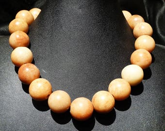 Natural Honey Jade Necklace 20 mm Beads