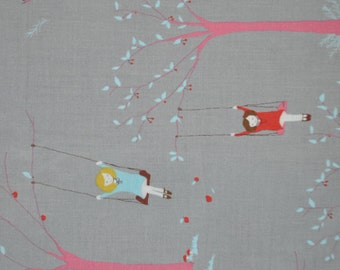Sherbet Pips Girl on Tree Swing Grey - Aneela Hoey - Cotton Fabric