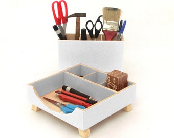 White Desk Organizer, Wood Desktop Organizer, Pen holder, Office Desk Accessories, White Desk storage, School kids Tidy desk, Command Center