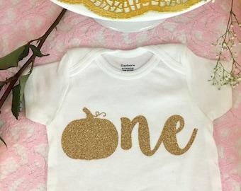 One Pumpkin Onesie, Pumpkin First Birthday, Glitter Onesie