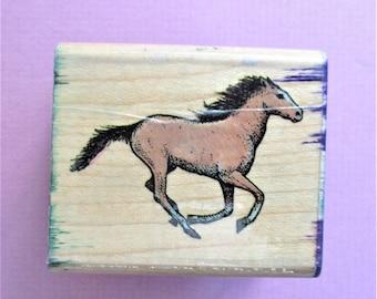 Galloping Horse Papercraft Rubber Stamp Destash Paper Craft Card Making Scrapbooking Collage Stamping Supply Wood Mount  All Night Media