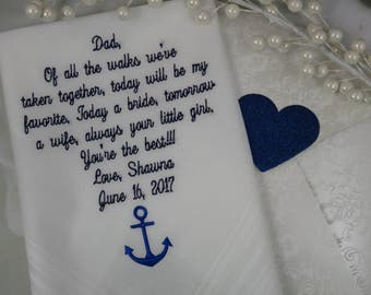 Personalized Wedding Gift For Your Father On Your Wedding Day. Choose the verse shown or use your own 40 words. Wedding Handkerchief Gift