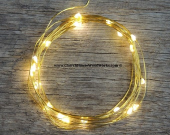 GOLD wire LED Battery Operated Fairy Lights, Rustic Wedding Decor, Room Decor, 6.6 ft Gold Wire Warm White