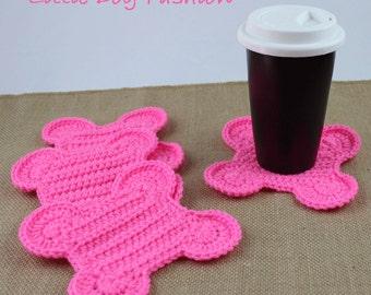 Dog Bone Coasters, Crochet Table Decor, Crochet Coasters, Handmade Coasters, Gift for Dog Lover, Dog Bone, neon Pink