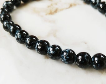 Black Speck Glass Beads // 8mm