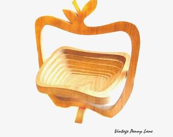 Large Handmade Fruit Basket, Wood Apple, Collapsing Bowl