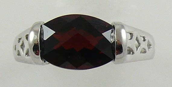 Garnet Ring with 14k White Gold