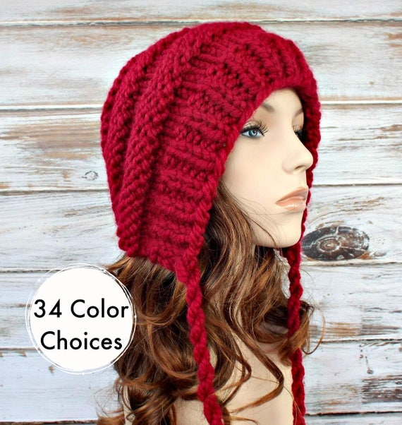 Knit Hat Red Womens Hat Red Ear Flap Hat Beanie - Georgette Beehive Bonnet Hat in Cranberry Red Knit Hat Knit Accessories - 34 Color Choices