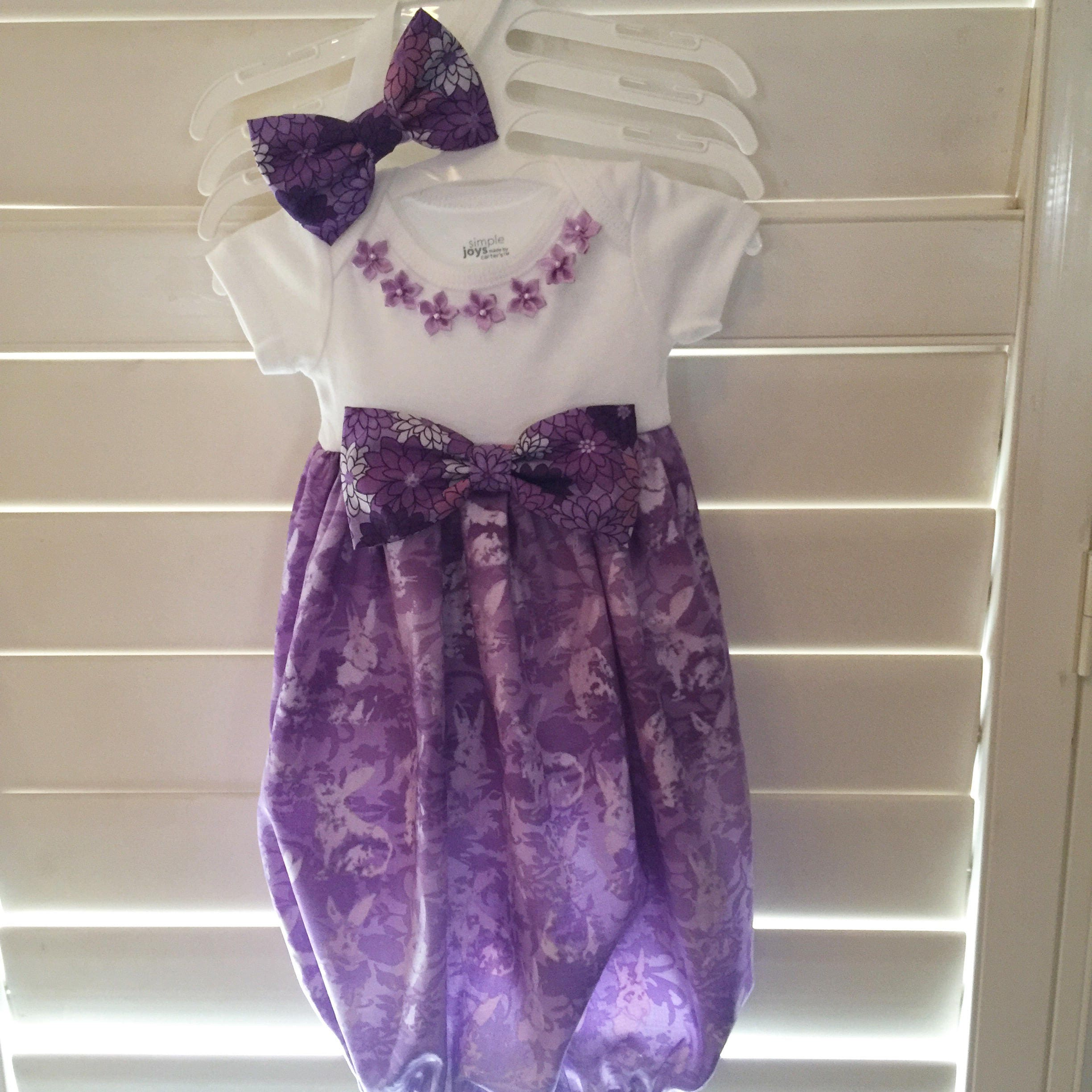 Newborn bunny layette gownPurple layette gown coming home