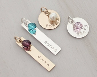 Add a Personalized Name Charm with a Birthstone - Gold Name Charm - Silver Name Charm - Custom Hand Stamped Name Pendant