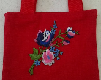 Little red tote bag with different color flowers