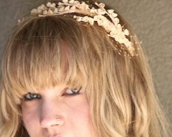 Headband of Vintage Peach Flowers and Net, Wedding Hair Accessory Adult Headbands for Women and Teens, Peach Hair Accessory