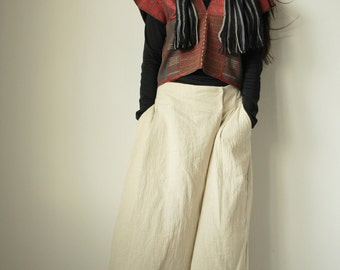 Hemp mix cotton wide Pants // Summer Pants //  Low waist Pants P1433