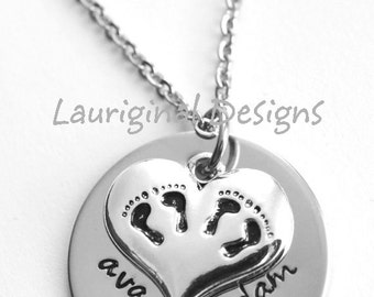 Twins necklace - Mom of twins necklace with birthstone - hand stamped stainless steel - silverplated twin charm - See ALL photos!!!