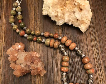 The Nurturing Heart Necklace: Unakite and Silver-Plated Charms