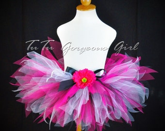 Fuchsia Black and White Tutu...Rock Star Birthday Tutu, Dance Tutu...Baby, Toddler, Girls, Adult Women's Tutu Sizes . . . HOT PINK DIVA