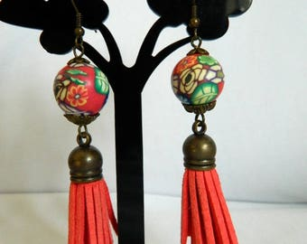 Red in Every day.  Modelin Clay Earrings by Kristina Supergirl Jewellery