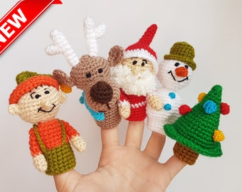 Christmas Finger Puppets crochet puppets Christmas toys finger theater Santa Claus Snowman Christmas tree Deer Elf Fairytale gift baby gift