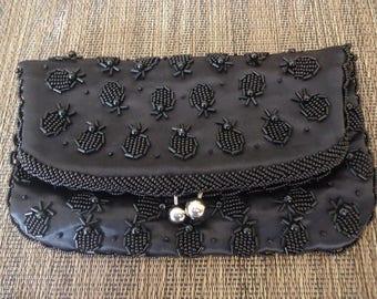 Lovely Vintage Black Beaded Fold Over Purse or Clutch, Monet Ltd Hong Kong