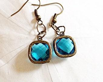 Faceted Aqua Blue Glass Antique Bronze Earrings