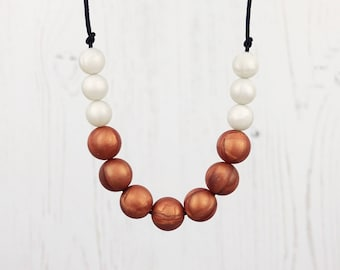 Teething Necklace, Copper Beads, Nursing Jewellery, Breastfeeding, Fiddle Necklace, Teething Beads, New Mum Gift, Baby Shower Gift, Teether
