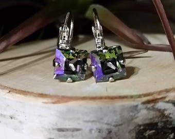 8x8mm Square Crystal Clear, Graphite, Denim Blue Swarovski or Crystal Paradise Shine Crystal Earrings in a Rhodium Setting